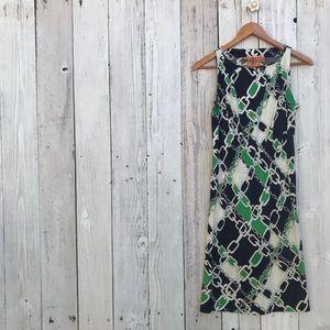Tory Burch Green Chain Link Print Dress